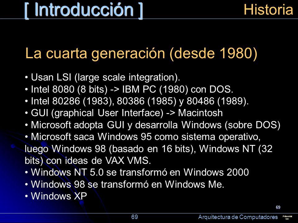 [ Introducción ] Historia La cuarta generación (desde 1980)